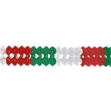 Girlande aus Seidenpapier, grün-weiss-rot ca. 4m