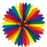 Fächer aus Seidenpapier, Regenbogenfarben ca. 120cm