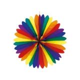 Fächer aus Seidenpapier, Regenbogenfarben ca. 50cm