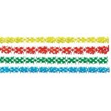 Girlande aus Seidenpapier 4er Set , verschiedene Farben und Formen gemischt