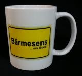 .Kaffeetasse weiss / weiss mit Druck Ortsschild Bärmesens