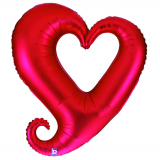 Folienballon Riesen-Herz ROT Kontur mit Ballongasfüllung